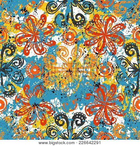 Vector Floral Grunge Pattern On Splash And Sprayed Watercolor Paint. Bold Ethnic And Tribal Print Wi