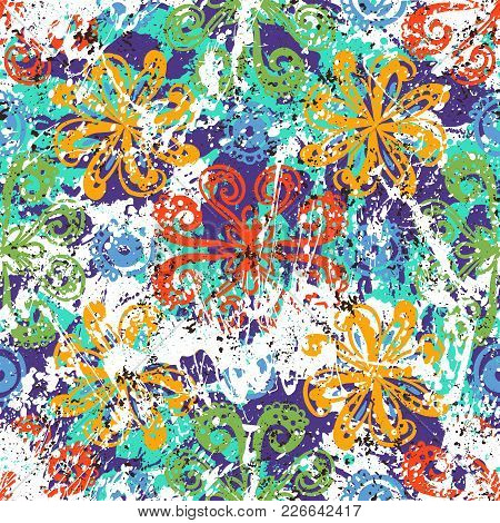 Vector Floral Grunge Pattern On Splash And Splattered Watercolor Paint. Bold Ethnic And Tribal Print