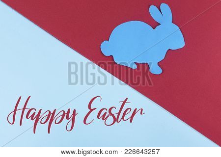 Inscription: Happy Easter On Dual Colored Background