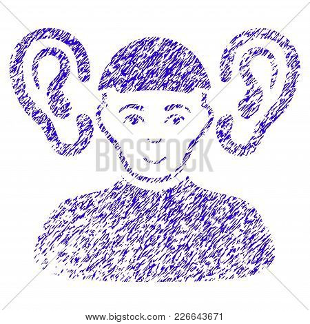 Grunge Listener Guy Rubber Seal Stamp Watermark. Icon Symbol With Grunge Design And Dust Texture. Un