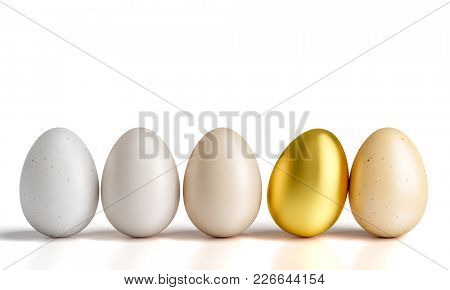 chicken eggs and golden one 3d render image