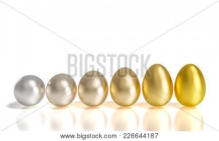 silver and gold gradation easter eggs 3d rendering image