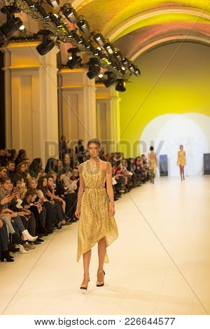 Kyiv, Ukraine - February 5, 2018: Model Walks The Runway At Queens Collection Show During Ukrainian