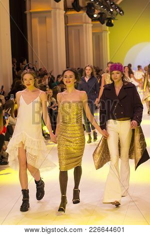 Kyiv, Ukraine - February 5, 2018: Models Walk The Runway At Queens Collection Show During Ukrainian