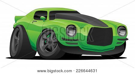 Hot American Muscle Car Cartoon. Bright Green With Black Stripe, Aggressive Stance, Low Profile, Big