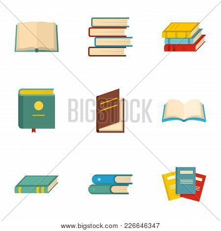Textbook Icons Set. Cartoon Set Of 9 Textbook Vector Icons For Web Isolated On White Background