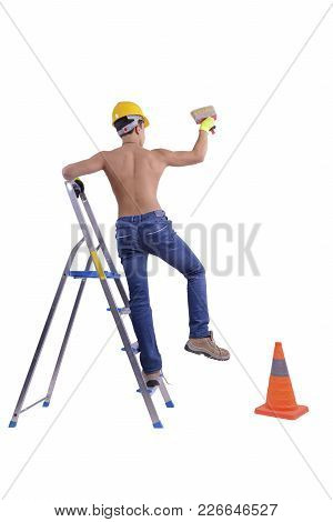 Young Male Decorator Painting With A Paint Brush Climbed A Ladder Isolated On White Background.