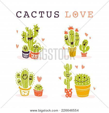 Vector Collection Of Flat Smiling Cacti Friends In Cartoon Style Standing Isolated On White Backgrou