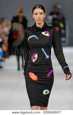 Kyiv, Ukraine - February 7, 2018: Model Walks The Runway At Guash By Anna Gulpe Collection Show Duri