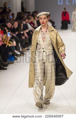 Kyiv, Ukraine - February 7, 2018: Model Walks The Runway At Bendus Collection Show During Ukrainian