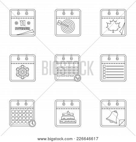 Diary Icons Set. Outline Set Of 9 Diary Vector Icons For Web Isolated On White Background