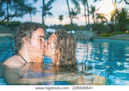 Portrait Of Happy Couple, Closeup Faces At Swim At The Swimming Pool. Traveling At Bali. Open-air Sw