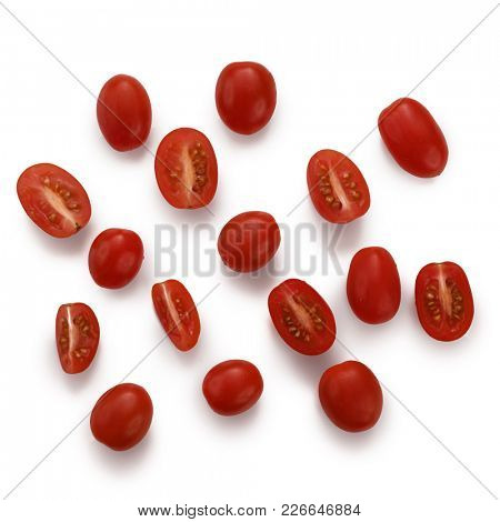 Close-up image of fresh cherry tomatoes on white background, view above