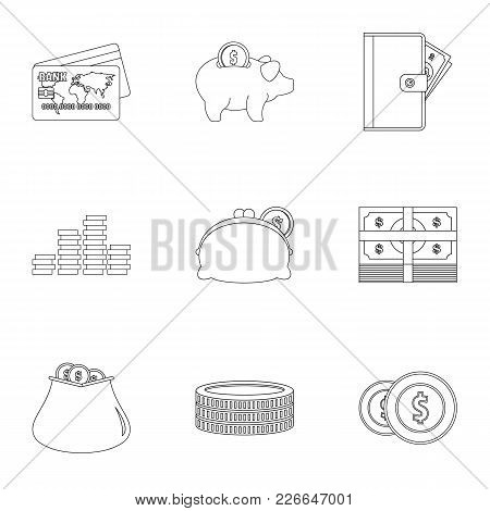 Subsidization Icons Set. Outline Set Of 9 Subsidization Vector Icons For Web Isolated On White Backg