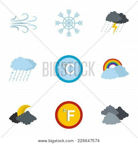 Meteorological Icons Set. Flat Set Of 9 Meteorological Icons For Web Isolated On White Background