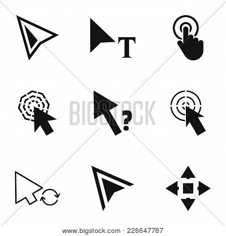 Click Icons Set. Simple Set Of 9 Click Vector Icons For Web Isolated On White Background