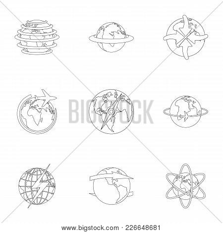 International Icons Set. Outline Set Of 9 International Vector Icons For Web Isolated On White Backg