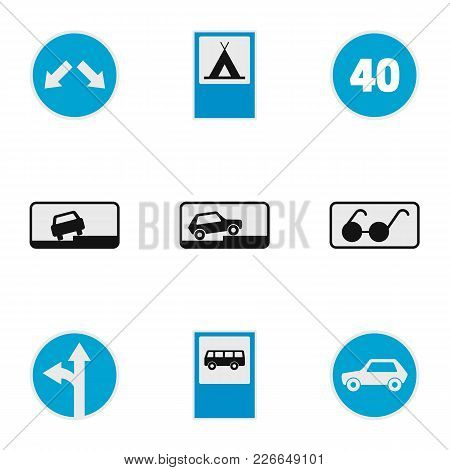 Traffic Signal Icons Set. Flat Set Of 9 Traffic Signal Vector Icons For Web Isolated On White Backgr