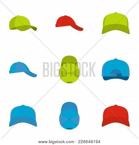 Cap Icons Set. Flat Set Of 9 Cap Vector Icons For Web Isolated On White Background