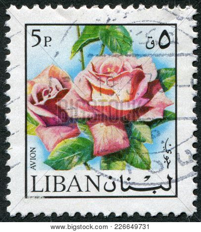 Lebanon - Circa 1973: Postage Stamps Printed In Lebanon, Depicts The Flower Rose, Circa 1973