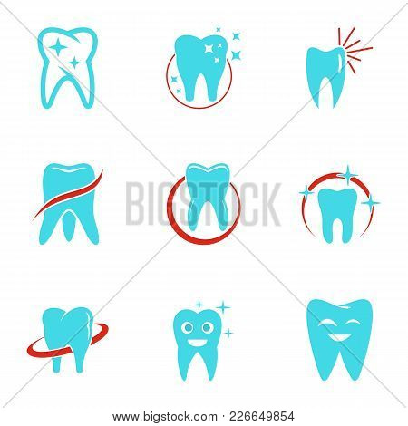 Dental Clinic Icons Set. Flat Set Of 9 Dental Clinic Vector Icons For Web Isolated On White Backgrou