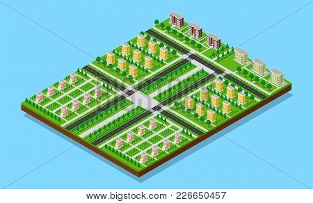 City Isometric Plan Of Sleeping Quarters With Roads, Footpaths, Trees And Living Buildings. Flat 3d