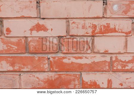 Outdoor Vintage Brickwall Frame Background. Grungy Stone Wall Rectangular Surface. Old Red Brown Bri