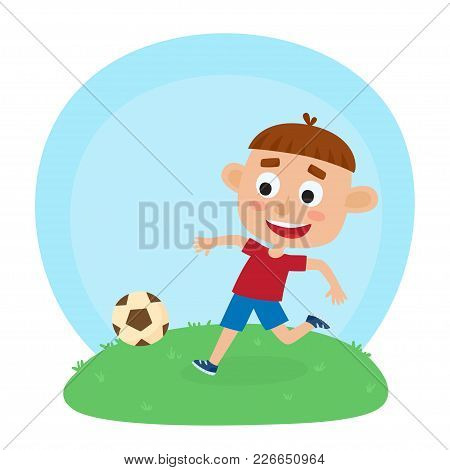 Vector Illustration Of Little Boy In Shirt And Short Playing Football. Cute Cartoon Kid Kicking Socc