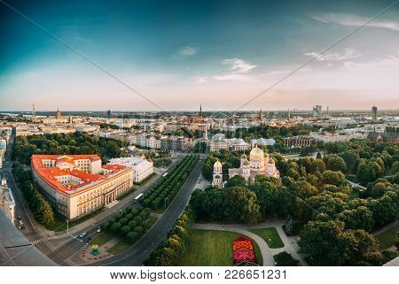Riga, Latvia. Cityscape. Top View Of Buildings Ministry Of Justice, Supreme Court, Cabinet Of Minist
