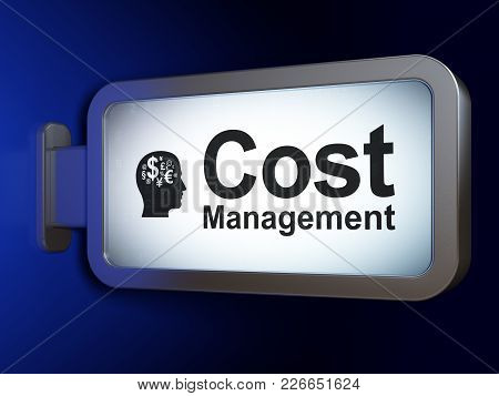 Finance Concept: Cost Management And Head With Finance Symbol On Advertising Billboard Background, 3