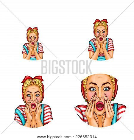 Vector Pop Art Avatar Of Screaming, Shouting Girl With Opened Mouth In Casual Clothing, Announcing S
