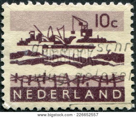 Netherlands - Circa 1963: A Stamp Printed In The Netherlands, Shows Dredging In Delta, Circa 1963