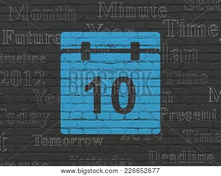 Timeline Concept: Painted Blue Calendar Icon On Black Brick Wall Background With  Tag Cloud