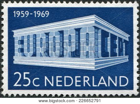 Netherlands - Circa 1969: A Stamp Printed In The Netherlands, Shows Europa An Cept In The Form Of Th
