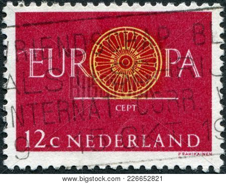 Netherlands - Circa 1960: A Stamp Printed In The Netherlands, Shows Europa, The Letter O In The Form