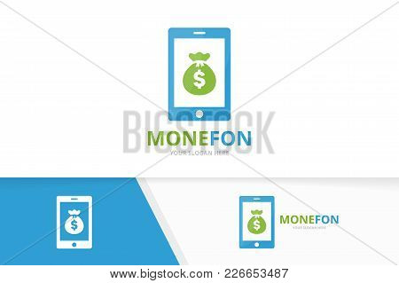 Vector Bag And Phone Logo Combination. Sack And Mobile Symbol Or Icon. Unique Money And Device Logot