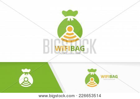Vector Bag And Wifi Logo Combination. Sack And Signal Symbol Or Icon. Unique Money And Radio, Intern