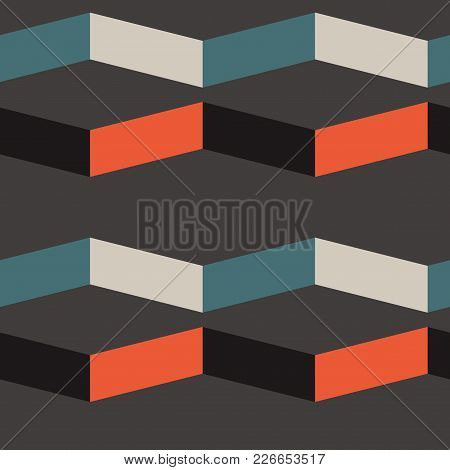 Abstract Shade Block Horizontal Seamless Pattern. For Print, Fashion Design, Wrapping, Wallpaper