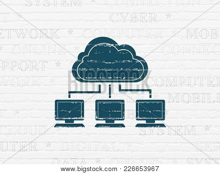 Cloud Technology Concept: Painted Blue Cloud Network Icon On White Brick Wall Background With  Tag C