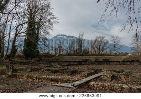 Roman Theater (2Nd Century Ad) Ancient Ruins. Dion Archaeological Park, Pieria, Greece.