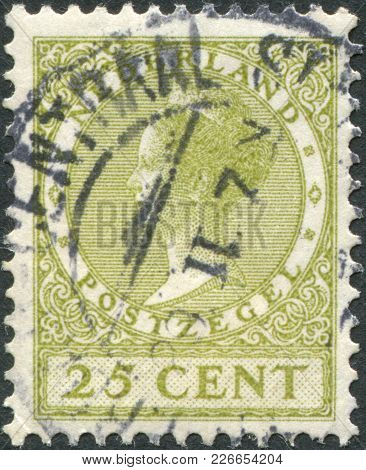 Netherlands - Circa 1927: A Stamp Printed In The Netherlands, Shows Wilhelmina Of The Netherlands, C