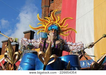 Aalst, Belgium, 12 February 2018: Unknown Aalst Carnival Participant Celebrate During The Annual Str