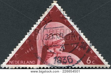 Netherlands - Circa 1936: A Stamp Printed In The Netherlands, Dedicated To The 300th Anniversary Of