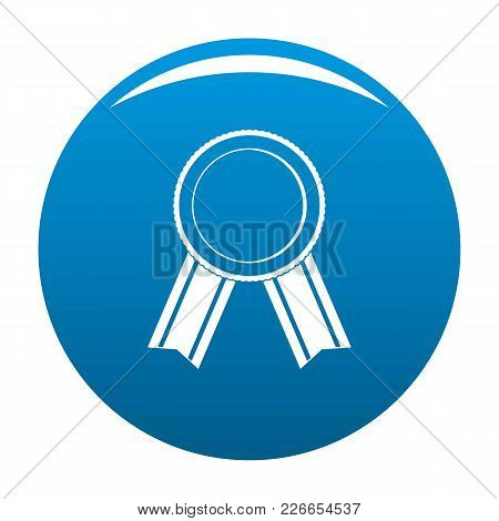 Award Ribbon Icon Vector Blue Circle Isolated On White Background