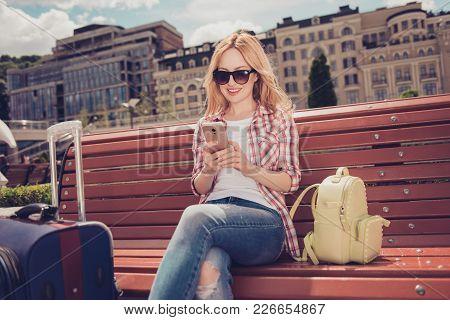 Connection Free Wi-fi Holiday Joy Fun Enjoy Global Resort Sitting On Bench Valise Tourism Concept. P