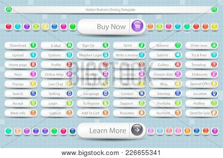 Vector Buttons Big Set, Colorful Web Layout Elements Collection. Multicolored Website  48 Icons For