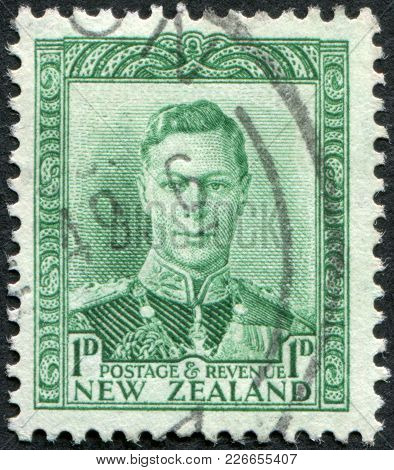 New Zealand - Circa 1941: A Stamp Printed In New Zealand, Shows George Vi Of The United Kingdom, Cir