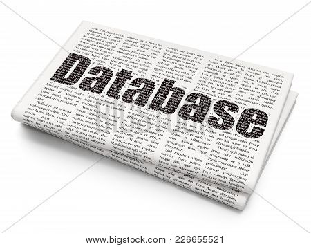 Programming Concept: Pixelated Black Text Database On Newspaper Background, 3d Rendering