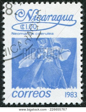 Nicaragua - Circa 1983: Postage Stamps Printed In Nicaragua, Shows Tropical Flower Neomarica Caerule