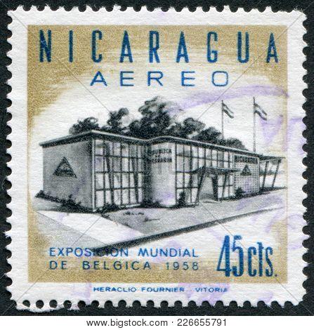 Nicaragua - Circa 1958: Postage Stamps Printed In Nicaragua, Nicaragua Shows Pavilion At The World F